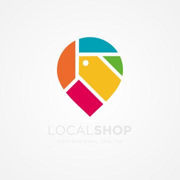 local shop logo design template vector
