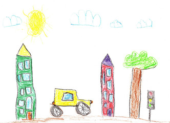 Drawing of the buildings and cars. City road in childish style.