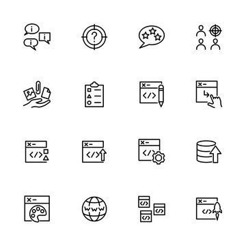 Line icon set related of web developing activity.