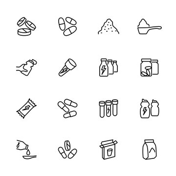 Line icon set related of food supplement, nutrition, protein and vitamin.
