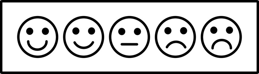 smiley face emoticons / emoji line art vector icons for apps and websites, Customer review, satisfaction, feedback, mood tracker