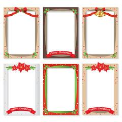 Set of Christmas photo frame vector Cartoon Design, Cute Christmas border design decoration.