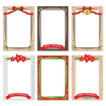 Set of Christmas photo frame vector Cartoon Design, Cute Christmas border design decoration.