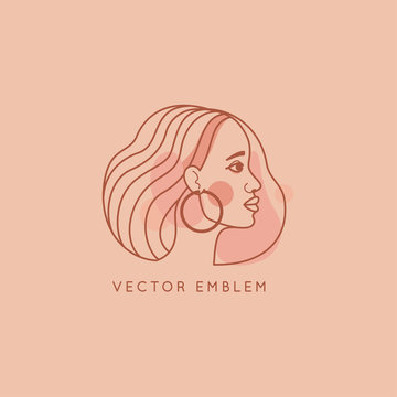Vector abstract logo design template in trendy linear minimal style, emblem for beauty studio and cosmetics - female portrait, beautiful afro woman's face