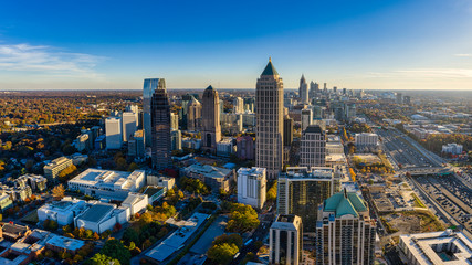 Aerial Panoramic picture of downtown Atlanta Skyline during the golden hour