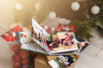 view open book with album christmas at home