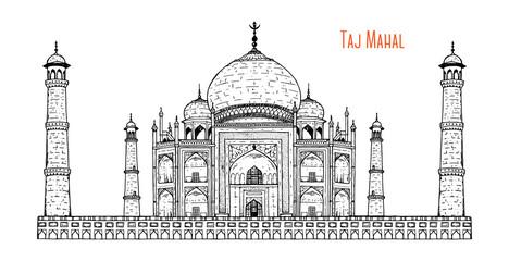 Hand drawn Taj Mahal vector illustration. Taj Mahal sketch. Ancient palace in India. Engraved vintage style. Fototapete