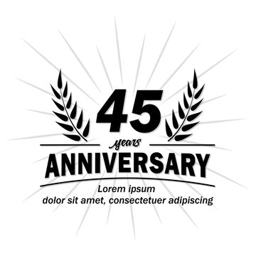 45 years logo. Forty-five years anniversary vector and illustration design template.