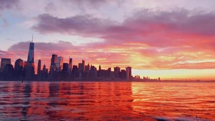 Wall Mural - Downtown sunrise skyline timelapse in New York City