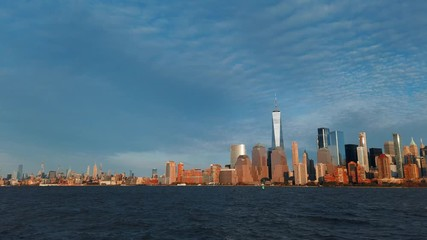 Wall Mural - Downtown skyline timelapse at sunset in New York City
