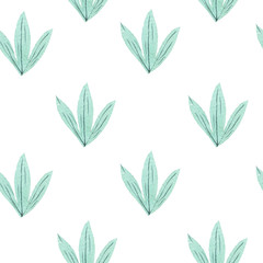 Beautiful hand painted watercolor botanical green leaves pattern, seamless tropical pattern, ornament for interior, textile design.
