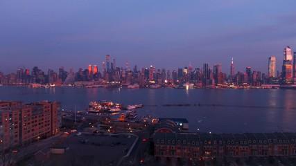 Wall Mural - Midtown Manhattan skyline at dusk after sunset in New York City timelapse
