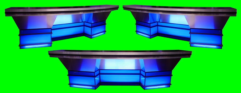 Blue Sports News Desk 3 Angles Isolated on Chroma Key Green Screen Background