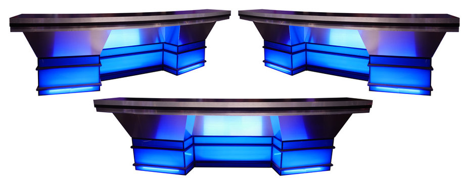 Blue Sports News Desk 3 Angles Isolated on White Background