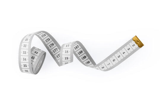 black and white measuring tape isolated on a white background. flat lay