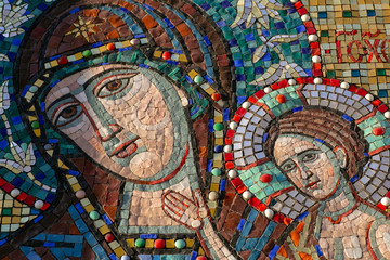 Orthodox mosaic icon of the Virgin (Holy Virgin Mary) on the wall of an Orthodox church in Moscow