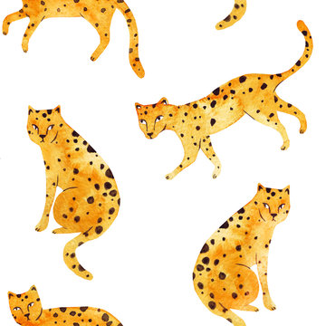 Cheetah. Beautiful seamless watercolor summer pattern background with wild jungle leopard animals on white background. Perfect for wallpapers, surface textures, textile, wrapping paper, fabric textile