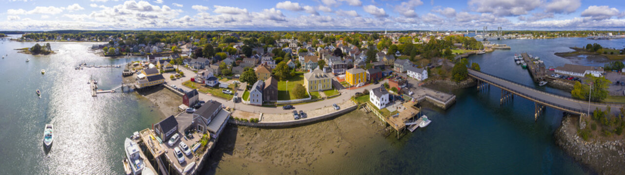 Portsmouth historic city center and Waterfront of Piscataqua River panorama aerial view, New Hampshire, NH, USA.