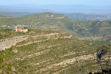 Montserrat area as seen from the Cistercian Monastery of Santa Maria de Poblet (Monestir de Poblet), Catalonia region, Spain