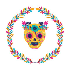 Mexican skull with flowers crown vector design