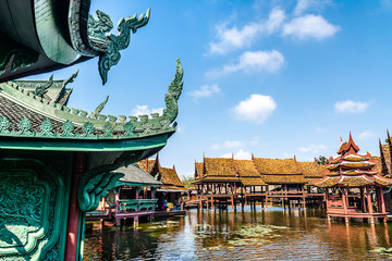 Traditional floating villages or river houses Location: Ancient City Park, Muang Boran, Samut Prakan province,  Bangkok, Thailand. Artistic picture. Beauty world.