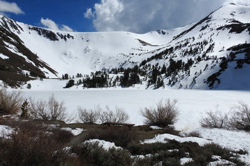 Virginia Lakes, just beginning to thaw out, as spring has arrived. Eastern Sierra Nevada Mountains, California.