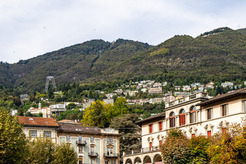 View of the mountains behind Locarno with the station of the funicular to Madonna del Sasso church, Canton Ticino, Switzerland