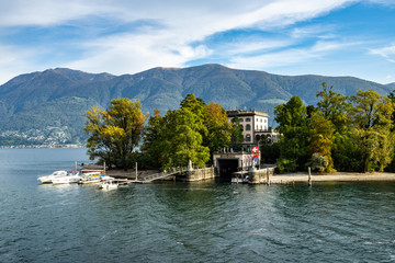 View of Isola Grande (or San Pancrazio), one of the two Brissago Island on the Swiss part of Lake Maggiore, Canton Ticino, Switzerland