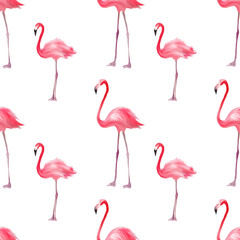 Canvas Prints Flamingo Seamless pattern with pink flamingo. Purple bird background. Good for textile, greeting card, t-shirt print and other design.