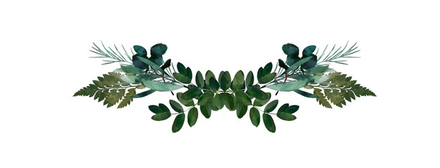 Watercolor modern decorative element.  Eucalyptus round Green leaf Wreath, greenery branches, garland, border, frame, elegant watercolor isolated, good for wedding invitation, card or print Fototapete