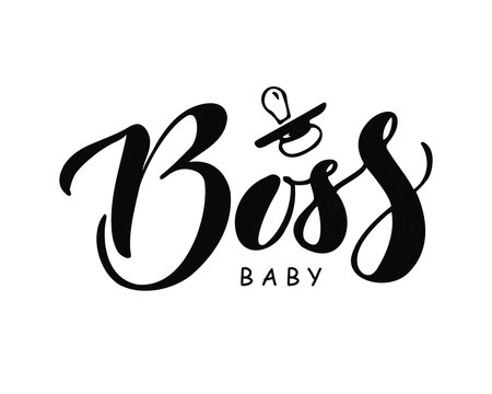 Baby Boss  hand drawn lettering.Vector illustration. Design for boys and  girls clothes, badge, card, postcard, tag, icon, T-shirt , banner.