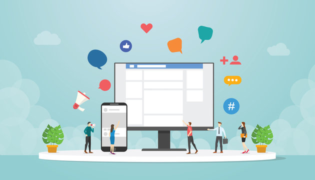 social network or social media concept on computer and smartphone mobile app with people and device icon with modern flat style - vector