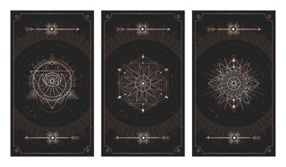 Vector set of three dark backgrounds with sacred symbols, grunge textures and frames. Illustration in black and gold colors. Fototapete