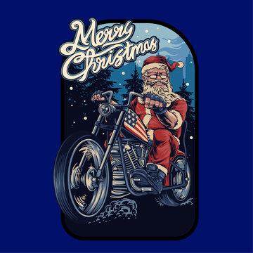 santa rider tshirt design template