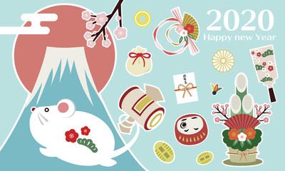 お正月の和柄セット set of icons Japanese pattern