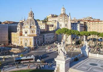 A fragment of Venice Square with the church of Santa Maria di Loreto in Rome, Italy.
