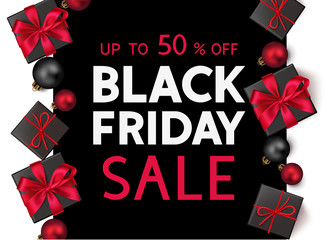 Wall Mural -  Black friday sale design template. Decorative gift boxes with red bow and text. Vector illustration