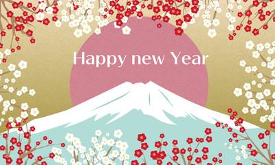 富士山と梅の美しい年賀状風のイラスト 1