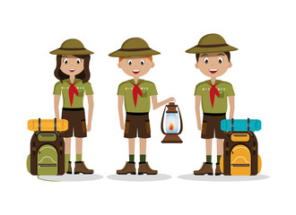group tourists with set icons of camping vector illustration design