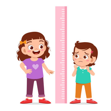 happy cute kid girl measure height together