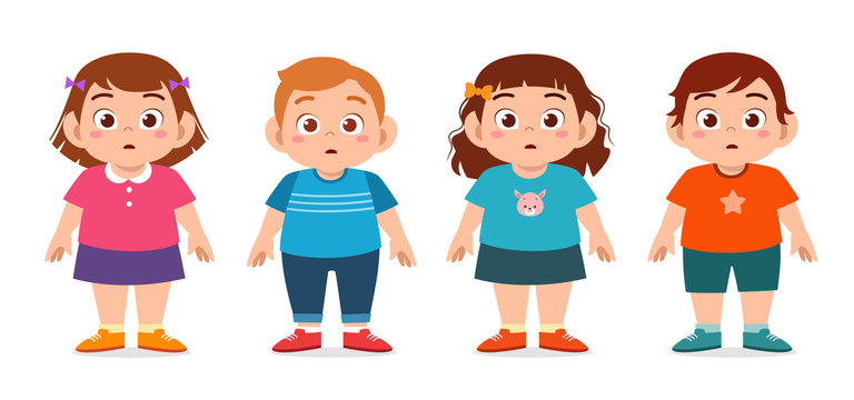 happy cute fat unhealthy kids boy and girl
