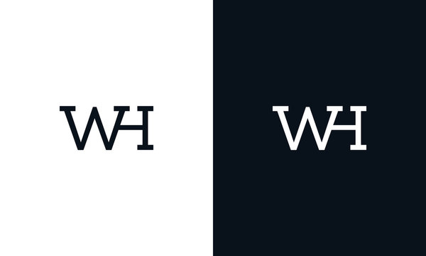 Creative line art letter WH logo. This logo icon incorporate with two letter in the creative way.