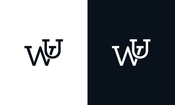 Creative line art letter WU logo. This logo icon incorporate with two letter in the creative way.