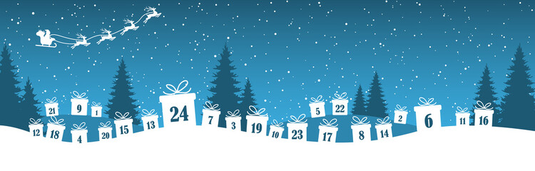Wall Mural - advent calendar 1 to 24 on christmas presents