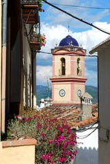 View of the church bell tower with pink flowers in the foreground, Algatocin, Andalusia, Spain.