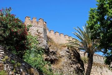 View of the castle wall and battlements, Marbella, Spain.