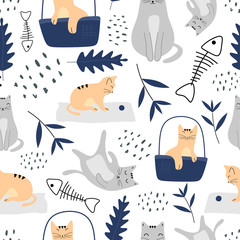 Cute cats seamless pattern with funny animal pastel colors. Vector illustration hand drawn childish drawing scandinavian style for fashion textile print.