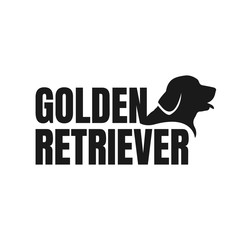 silhouette of golden retriever dog logo vector. stylish golden retriever letter with dog head element design concept