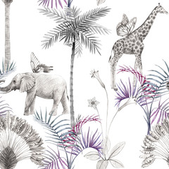 Beautiful african safari animal tropical seamless pattern. Trendy style. Print with elephants and giraffe. White background.