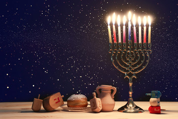 religion image of jewish holiday Hanukkah background with menorah (traditional candelabra),...